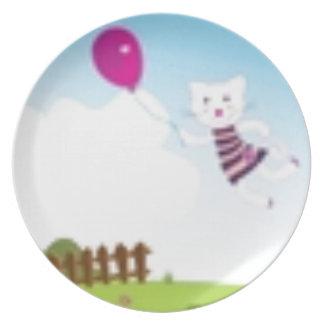 Prato De Festa Desenhistas que voam o gatinho com balão