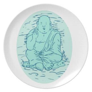 Prato De Festa Desenho da pose de Gautama Buddha Lotus