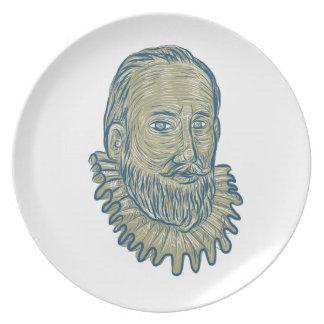 Prato De Festa Desenho do busto do senhor Walter Raleigh