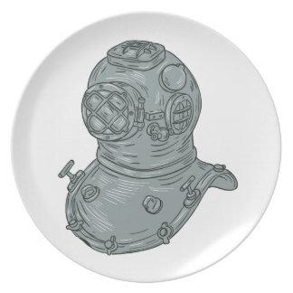 Prato De Festa Desenho do capacete do mergulho da velha escola