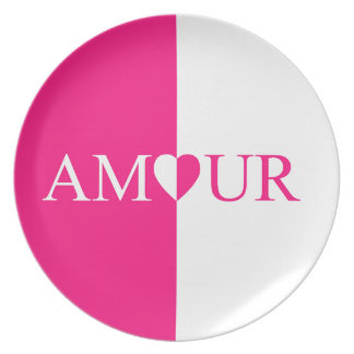 Prato De Festa Design do rosa do amor do CASO AMOROSO