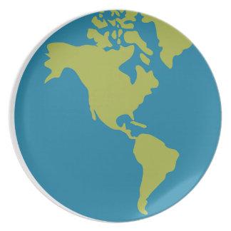 Prato De Festa Design dos continentes do mundo da terra do