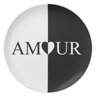 Prato De Festa Design preto e branco do amor do CASO AMOROSO
