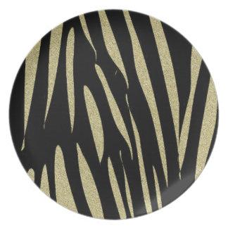 Prato De Festa Design selvagem do safari do impressão das listras