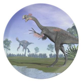 Prato De Festa Dinossauros de Gigantoraptor na natureza - 3D