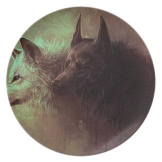 Prato De Festa dois lobos - lobo da pintura