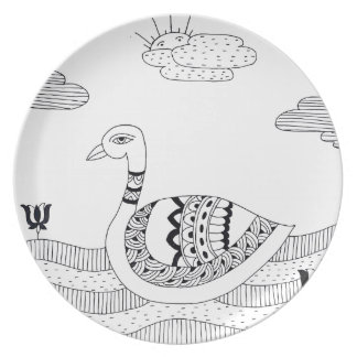 Prato De Festa Doodle preto e branco da cisne