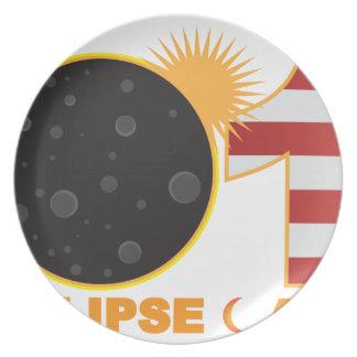 Prato De Festa Eclipse 2017 solar total sobre os EUA numerais