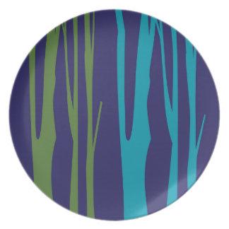 Prato De Festa Elementos do azul das árvores do DESIGN