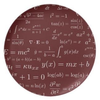 Prato De Festa Equações da placa da melamina da matemática e da