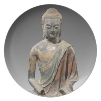 Prato De Festa Escultura descolorada de Buddha - dinastia de Tang