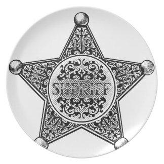 Prato De Festa Estilo gravado crachá da estrela do xerife