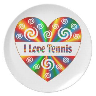 Prato De Festa Eu amo o tênis
