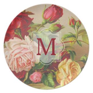 Prato De Festa Flores do buquê dos rosas do Victorian do vintage