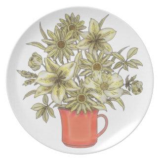 Prato De Festa Flores na caneca de café 1
