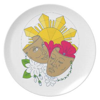 Prato De Festa Fluxo filipino de Sampaguita do hibiscus de Sun da