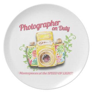Prato De Festa Fotógrafo no design da câmera do vintage do dever