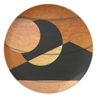 Prato De Festa Fulgor dos planetas, preto e cobre, design gráfico