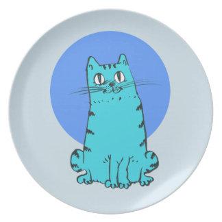 Prato De Festa gatinho doce dos desenhos animados do gato azul