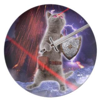 Prato De Festa gatos do guerreiro - gato do cavaleiro - laser do