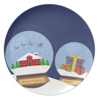 Prato De Festa Globos da neve do Natal e presente de Papai Noel