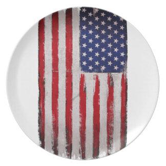 Prato De Festa Grunge da bandeira dos EUA