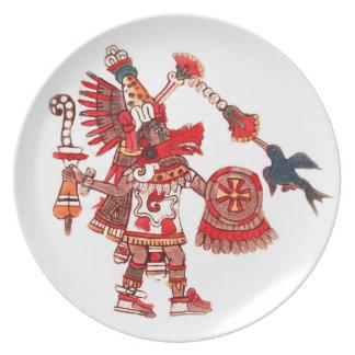 Prato De Festa Guerreiro asteca do shaman da dança