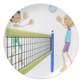 Prato De Festa Homens dos desenhos animados que jogam o voleibol
