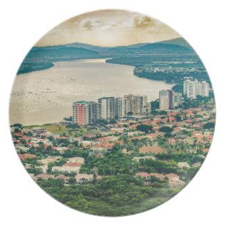 Prato De Festa Ideia aérea do subúrbio de Guayaquil do plano