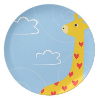 Prato De Festa Ilustração do girafa com corações minúsculos para
