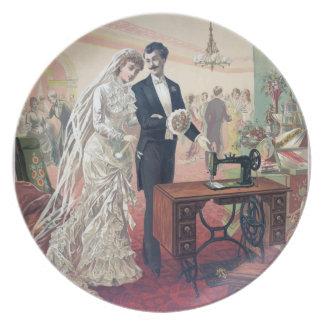 Prato De Festa Ilustração dos noivos do vintage