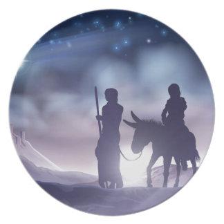 Prato De Festa Ilustração Mary e Joseph do Natal da natividade