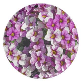 Prato De Festa Impressão floral bonito dos petúnias cor-de-rosa e