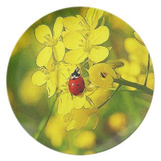 Prato De Festa Joaninha amarelo do vermelho da boa sorte da flor