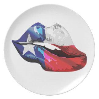 Prato De Festa Lábios da bandeira de Texas