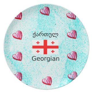 Prato De Festa Língua e design Georgian da bandeira