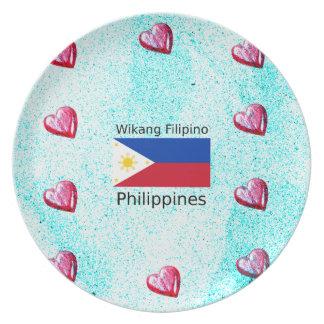 Prato De Festa Língua filipina de Wikang e bandeira de Filipinas