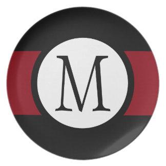 Prato De Festa Linha preta, branca & vermelha à moda elegante