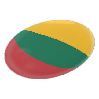 Prato De Festa Lithuania, bandeira verde & amarela vermelha