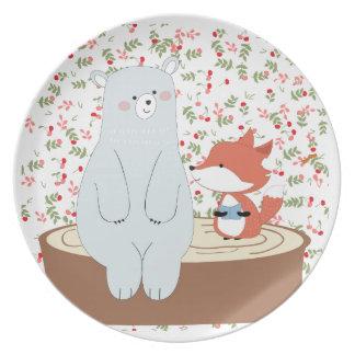 Prato De Festa Lobo bonito da raposa do verão do primavera do