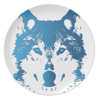 Prato De Festa Lobo do azul de gelo da ilustração