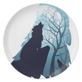Prato De Festa Lobo que urra com Forest2-01