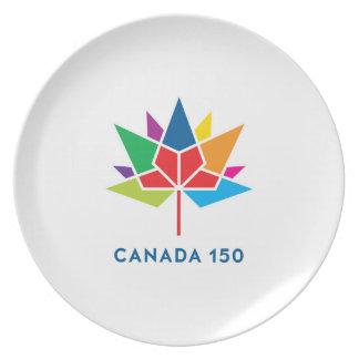 Prato De Festa Logotipo do oficial de Canadá 150 - multicolorido