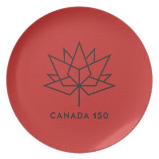 Prato De Festa Logotipo do oficial de Canadá 150 - vermelho e