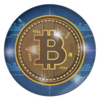 Prato De Festa Logotipo legal de Bitcoin e design do gráfico