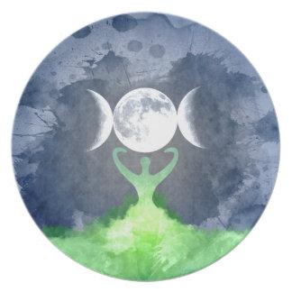 Prato De Festa Lua da deusa de Mãe Terra de Wiccan