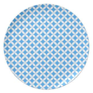 Prato De Festa Luz - teste padrão azul do círculo