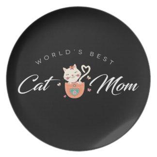 Prato De Festa Mamã do gato do mundo a melhor para mães do