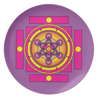 Prato De Festa Mandala de Merkaba do cubo de Metatron
