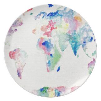 Prato De Festa mapa do mundo da cor de água